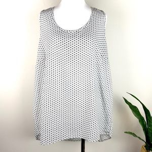 Halogen, Black and White Print Blouse, XL